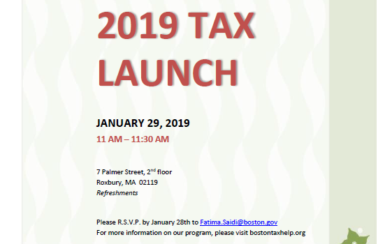 Join Mayor Martin J. Walsh and the Boston Tax Help Coalition for the 2019 Tax Launch