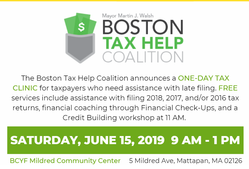 Register Here for the Boston Tax Help's One-Day Tax Clinic (No more available appointments)
